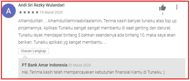 Testimoni Nasabah Tunaiku Amar Bank
